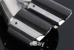 1Pair Car ID2.5 OD3.5 Glossy 100% Carbon Fiber Exhaust Tip Dual Pipe Muffler