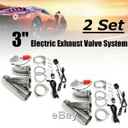 2 Set 3''76mm Electric Exhaust Valve Catback Downpipe System Remote Cutout