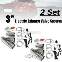 2 Set 3'' Electric Exhaust Valve Catback Downpipe System Remote Cutout E-cut