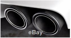 2 X 63-89mm Glossy Real Carbon Fiber+Stainless Steel Car Exhaust Dual Tail Pipe