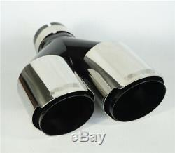 2PC 63mm 89mm Dual Exhaust Pipe Tail Muffler Tip Plating black stainless steel