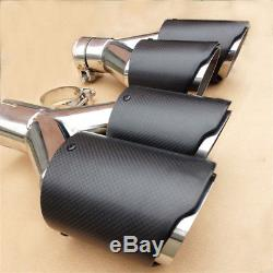 2PCS 63mm 89mm Carbon Fiber Car Exhaust Muffler Pipe Dual Tip Stainless Steel