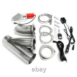 2x 3'' 76mm Electric Exhaust Valve E-CUT Downpipe System Remote Cutout Control