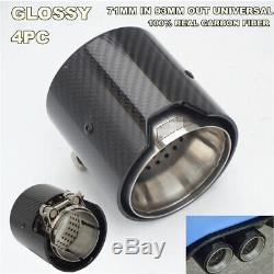 4 Pcs Glossy 100% Real Carbon Fiber Exhaust tip 71MM IN 93MM OUT Universal