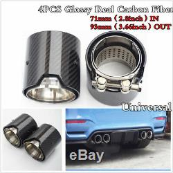 4PCS Glossy Real Carbon Fiber Exhaust tip For BMW M Performance exhaust pipe
