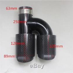 Carbon Fiber Auto SUV Exhaust Pipe Muffler End Tips For Car 63mm-89mm Left+Right