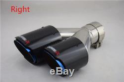 Carbon Fiber Car SUV Dual Exhaust Pipe Tail Muffler Tip Chrome Blue (Left+Right)