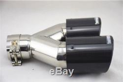 Dual Pipe Carbon Fiber Right+Left Exhaust Pipe Tail Muffler Tip 63mm In 89mm Out
