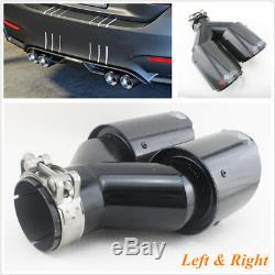 Left+Right Real Carbon Fiber 63-89mm Car SUV Exhaust Tip Dual Pipe Plating Black