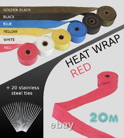 UNIVERSAL CAR BIKE EXHAUST HEAT WRAP with ties-20 METRE RED 20M-RED-VXL2