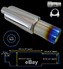 Universal Performance Stainless Steel Exhaust Burnt Tip Back Box 142150-vxl2